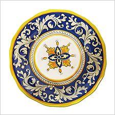 Four Le Cadeaux Malaga Blue Dinner Plates