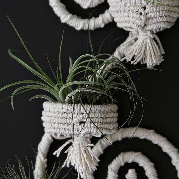 Bohemian decor. Macrame wall decor. Mini plant by RetoDecor