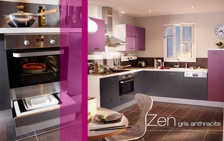 cuisine zen cuisines en kit lapeyre blanc gris anthracite ou aubergine clair orchid e. Black Bedroom Furniture Sets. Home Design Ideas