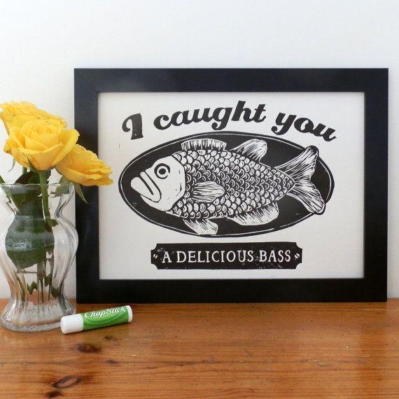 Napoleon Dynamite's Delicious Bass Linocut - Movie quote art, Napoleon Dynamite quote, Fish Print, Fish Art, Lino Print, Film Quote,