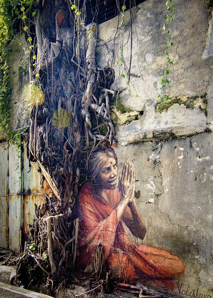 Оld Indian woman - Оld Indian woman. Street art. Jalan lumut, Georgetown Malaysia Artist Julia Volchkova.