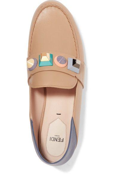 Fendi - Rainbow Studded Leather Loafers - Beige