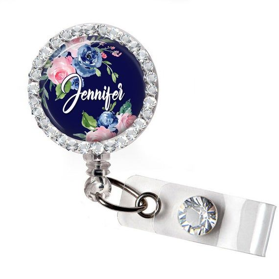 Xray Tech Badge Reel Damask Name Badge Holder Personalized with Name and Title