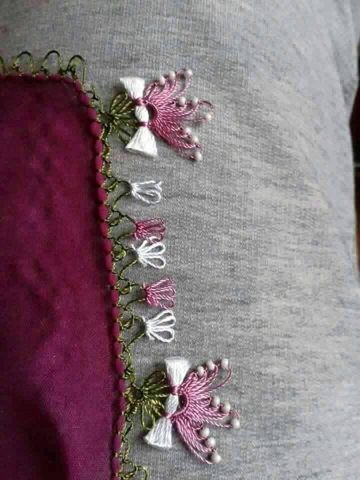 boncuklu çiçek iğne oyası yazma kenarı