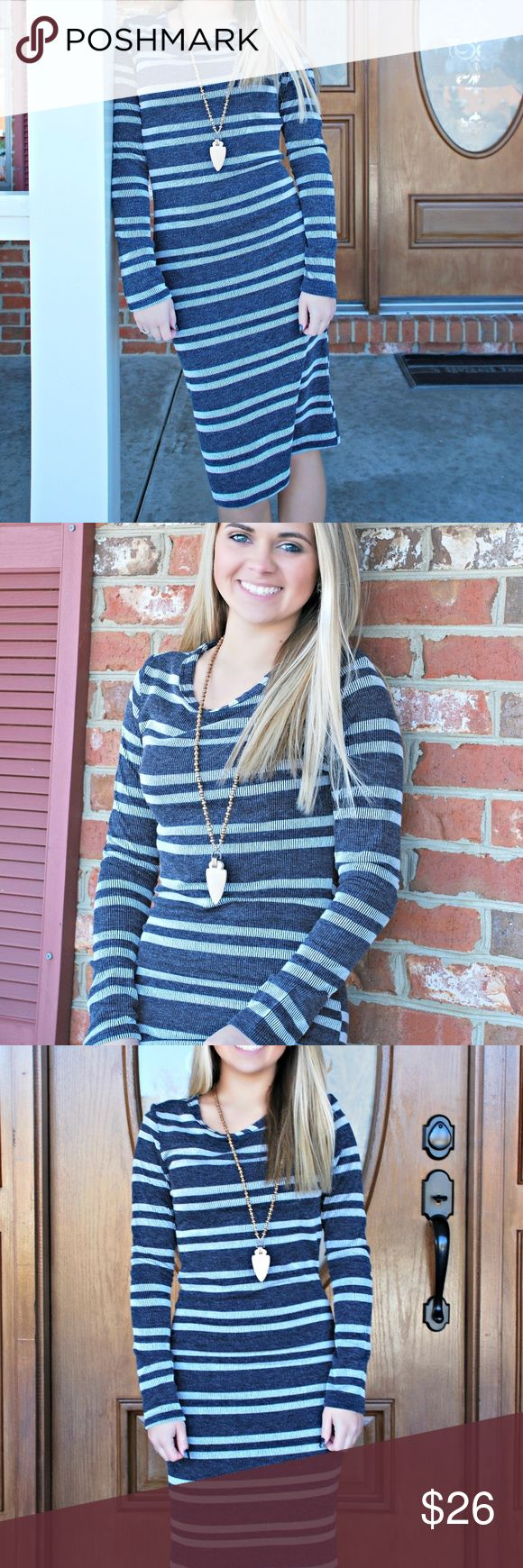 Navy Stripe Dress This navy striped dress is a SEXY fitting but still classy with its LONGER knee length hem. Stone Pony Boutique Dresses