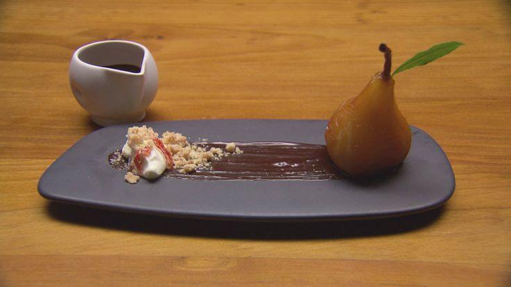 poached vino cotto pear open for the recipe! http://tenplay.com.au/channel-ten/masterchef/recipes/poached-vino-cotto-pear