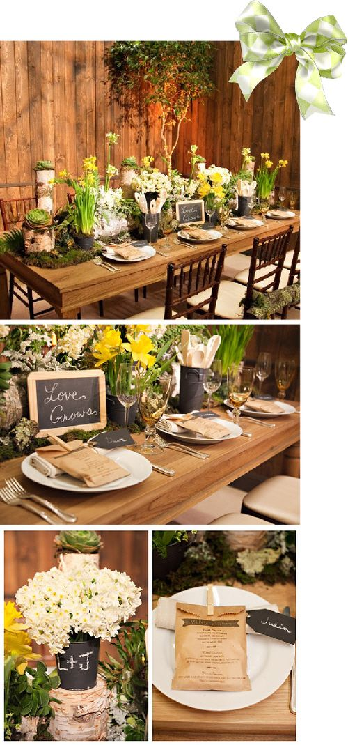 A small intimate wedding with tables featuring vibrant spring flowers, succulents, branches, and moss giving this spring wedding a magical woodland feel for the guests!