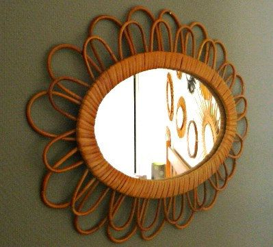 Vintage rattan oval mirror large curls 1950 by PopVintages on Etsy, €115.00