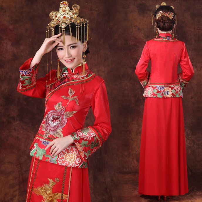 Embroidered peony golden phoenix traditional Chinese wedding dress | Modern Qipao
