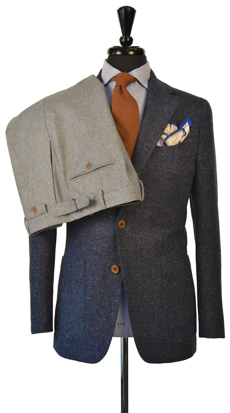 Beckett & Robb two-piece separates. Donegal tweed jacket with light grey flannel trousers sold together. Beckett & Robb