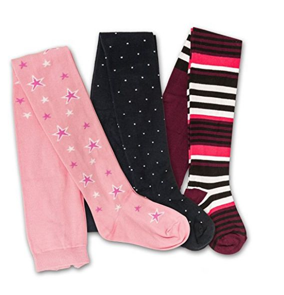 Tights for Girls Cotton 3 Pack Size 4 to 6  Dark Blue Bordo Pink Footed  #pureLOVEforsale #Tights