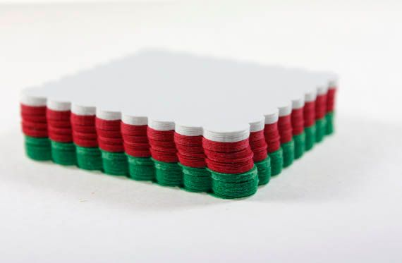 30 Scalloped Squares, Red, Green & White, Christmas Colors, Die Cut Paper Squares, Die Cut Scallop, DIY Tag, Gift Tag, Christmas Paper