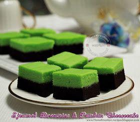 HomeKreation - Kitchen Corner: Steamed Brownies & Pandan Cheesecake (Brownies Kukus Lapis Cheesecake Pandan)