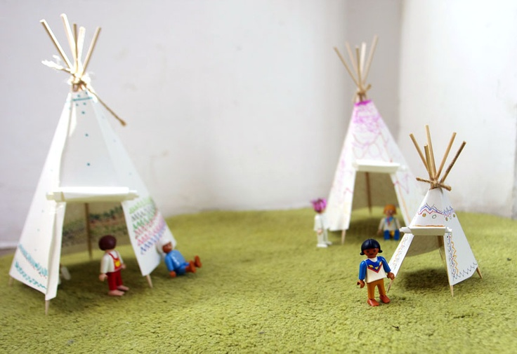 teepee for legos...with paper, toothpicks, skewers, tape and some cord