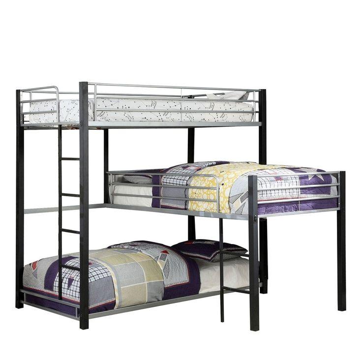 Best 3 Tier Industrial Style Twin Bunk Bed With Corner Design 640 x 480