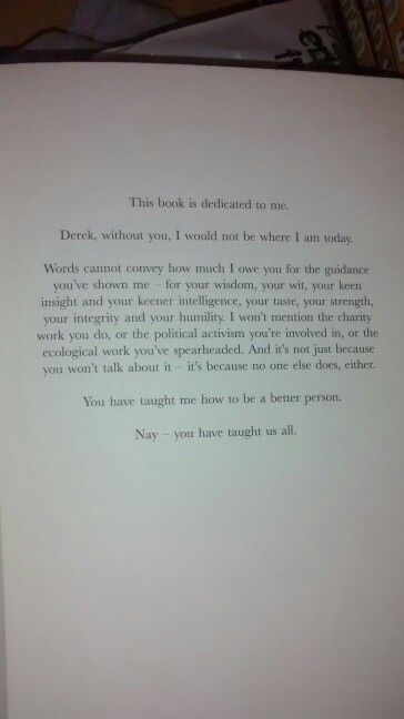 Loving the dedication.