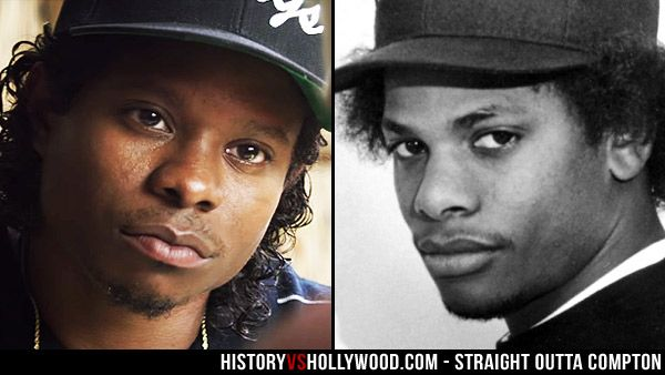 Actor Jason Mitchell and rapper Eazy-E. Mitchell portrays Eazy-E in the Straight Outta Compton N.W.A movie.