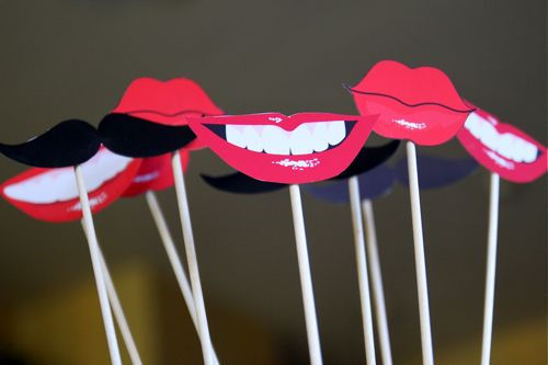 Free Printable Lips & Mustache photo booth props.  Designed by Amy Locurto at LivingLocurto.com