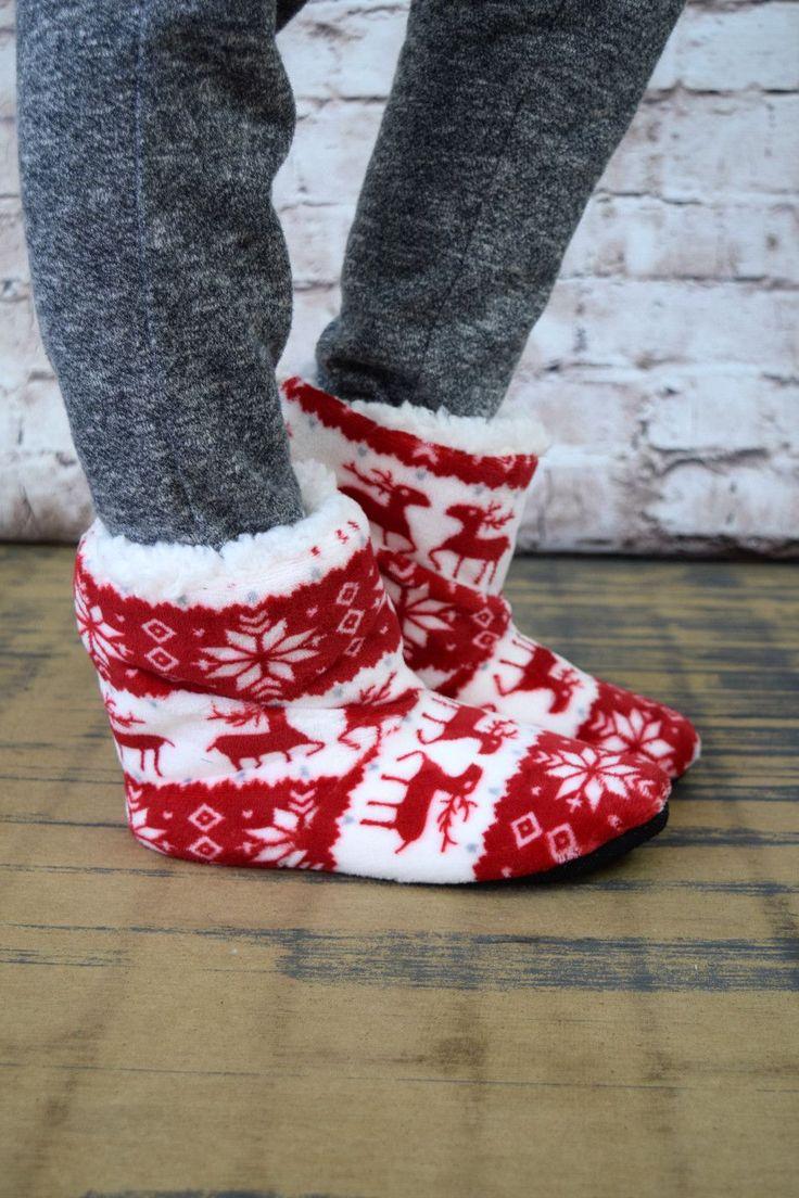 Reindeer & Snowflake Bootie Slippers - Multiple Options