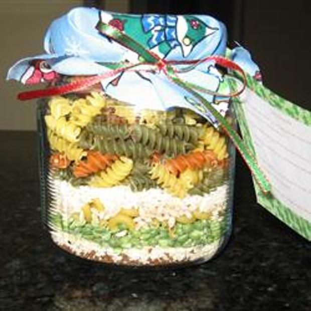 Love Soup Mix In A Jar - twist macaroni - tri-color spiral pasta - dried split peas - beef bouillon granules - dried minced onion - long grain white rice - dry lentils - barley