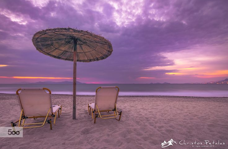Sunset on the beach by Christos Petalas on 500px