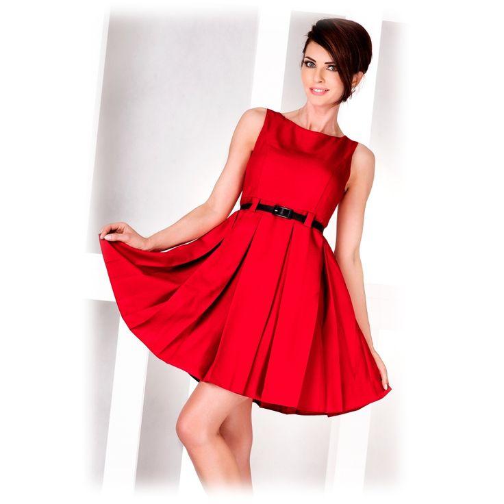 Společenské šaty se sklady červené