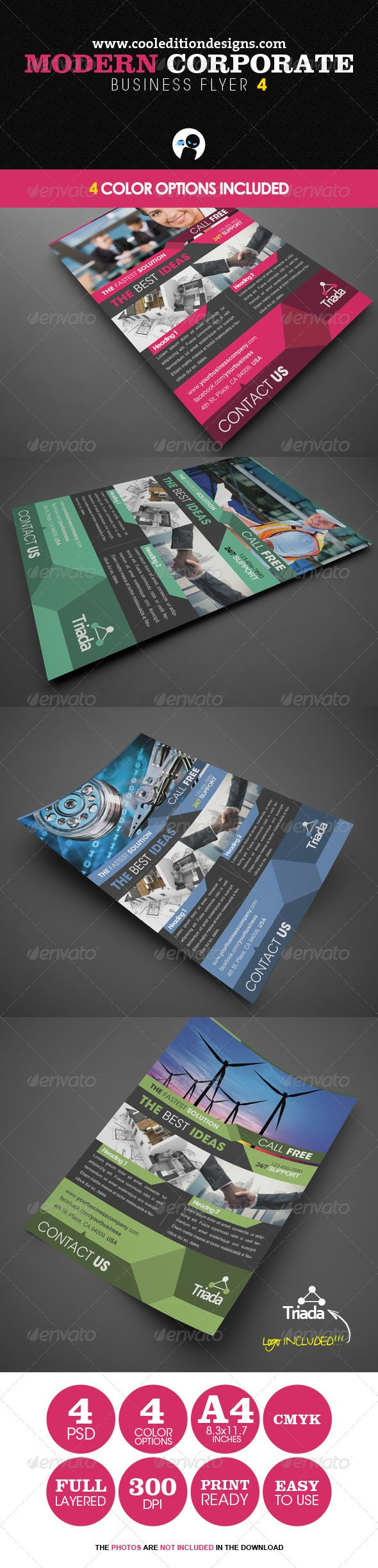 "Modern Corporate Business Flyer 4  #GraphicRiver             	 Impress your clients with this Professional, Modern and Corporate flyer for your business.  	 The download file contains  	 4 PSD layered files – Dimensions: A4 8.3""x11.7"" (8.5""x11.9"" Bleeds)  	 4 Color Options  	 Quick and Easy to edit  	 Full Layered  	 300 DPI  	 CMYK  	 Print Ready  	 A info file named ""Instructions and Info""  	 A JPEG with instructions to rate the file  	 These are the fonts used in the design:  	 1. Arial…"