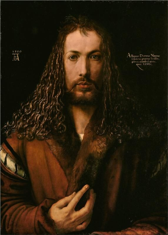 Self-Portrait at the Age of Twenty Eight    Artist: Albrecht Durer    Completion Date: 1500    Style: Northern Renaissance    Genre: self-portrait    Technique: oil    Material: panel    Gallery: Alte Pinakothek