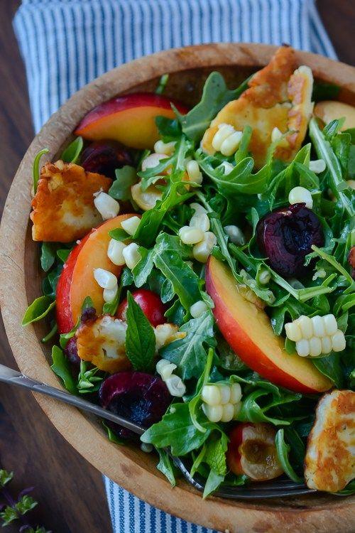 Summer fruit and halloumi salad   Recipe   Summer Fruit, Sweet Corn ...