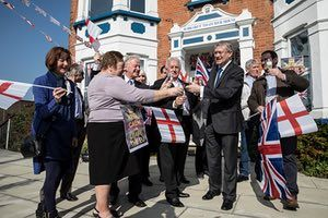 Romford, UKPhotographer Sean Smith spent time in Essex ahead of the gvernment's triggering of Article 50. In this photograph Andrew Rosindell MP for Romford holds a celebration for local conservative party workers and supporters at Margret Thatcher House. To see Sean's photo essay click here