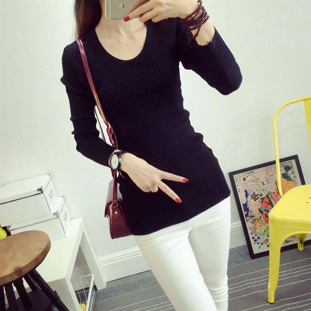 2016 New Korean Women Long Slim Bottoming Shirt Knitted Sweater High Elastic Autumn Winter Pullover Pull Femme Sweaters WM0040