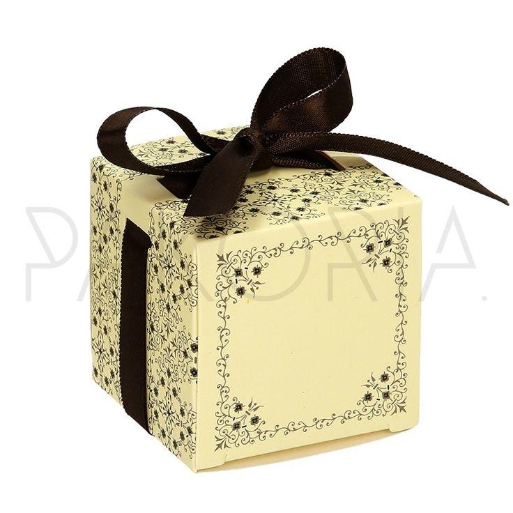 Pudełko ECRU ORNAMENTY z kokardą. Podziękowania dla gości, pudełeczko na cukierki. Na wesele ślub czy inną okazję. Inspiracje na wesele.  pakoria.pl   Wedding thanks, gold, ornamental, ecru pretty box. Wedding inspiration.