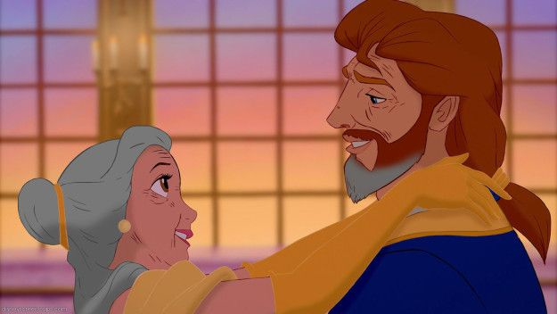 Belle and Prince Adam   If Disney Couples Grew Old Together