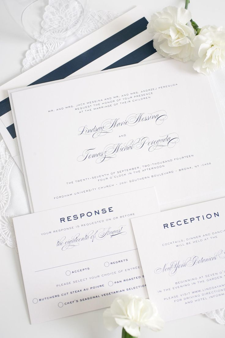 Classic wedding invitations with navy striped accents from @shinewedding