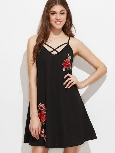 Black Crisscross V Neck Embroidered Rose Applique Cami Dress