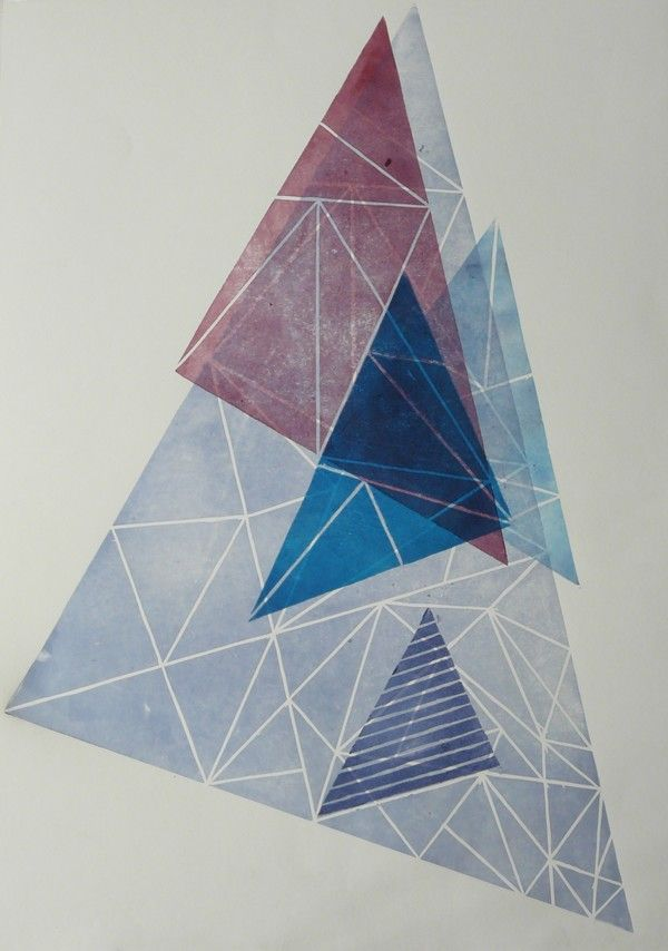 linocut triangles