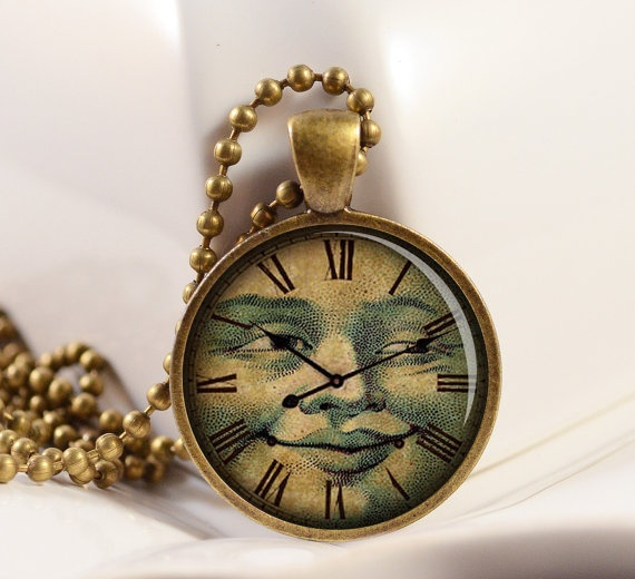 Vintage Clock Face Pendant Moon Face Pendant Resin by artyscapes, $9.50