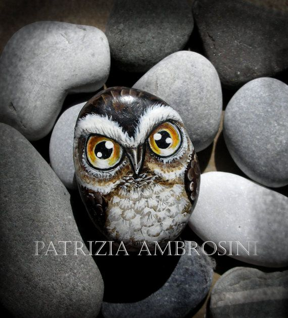 owl painted rocks | Owl No.5 Handpainted rock painting painted stone miniature painted ...