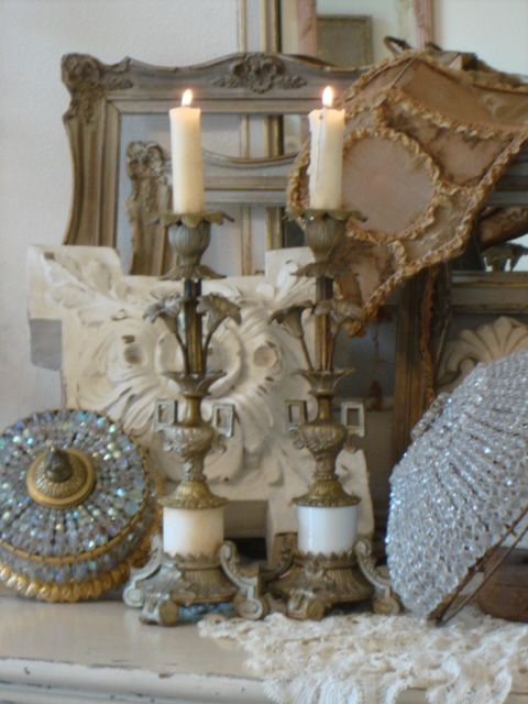 Candles: Antique French Tole Brass Floral Altar,1920s.