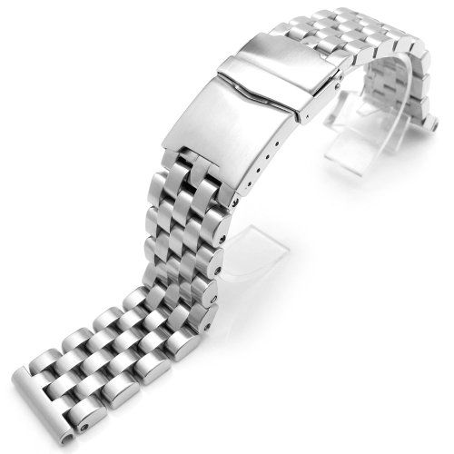 24mm SUPER Engineer Solid Stainless Steel Straight End Watch Band-Brush Shipping Estimate : 7 - 10 Business Days within US.. Material: 316L Stainless Steel, Solid link. Buckle type: 316L Stainless Steel diver clasp. Color / Finish: Brushed. Design to fit: 24mm lug width.  #24mmMetalBand #Watch
