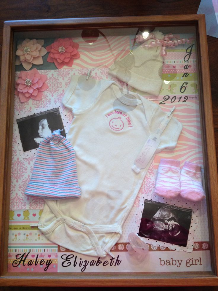 DIY baby shadowbox! Could put name & date on glass using Cricut...add a pic of baby in the outfit. Also use pearl topped straight pins to keep clothes/items in place.