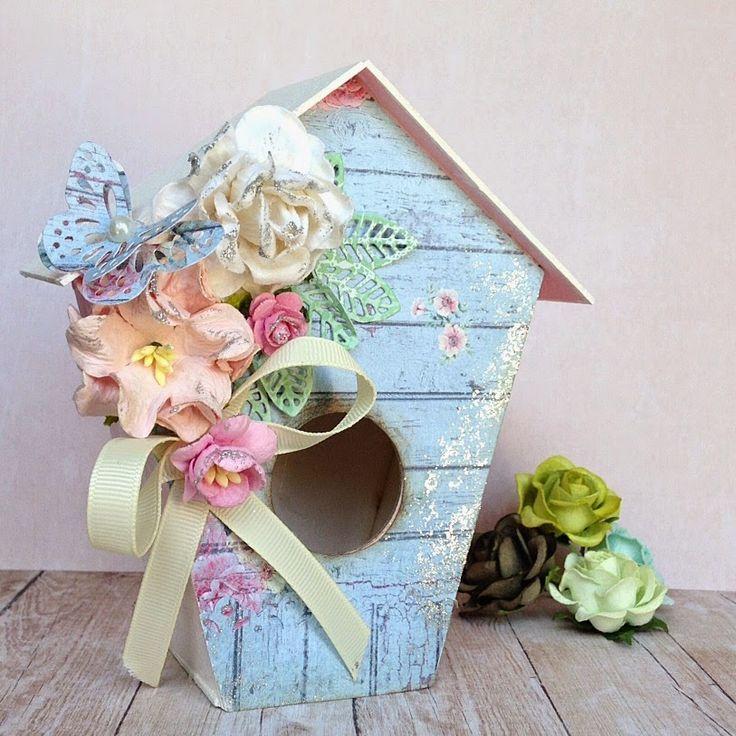 Scrapbooking Bird House, Domek dla ptaków w stylu Shabby chic
