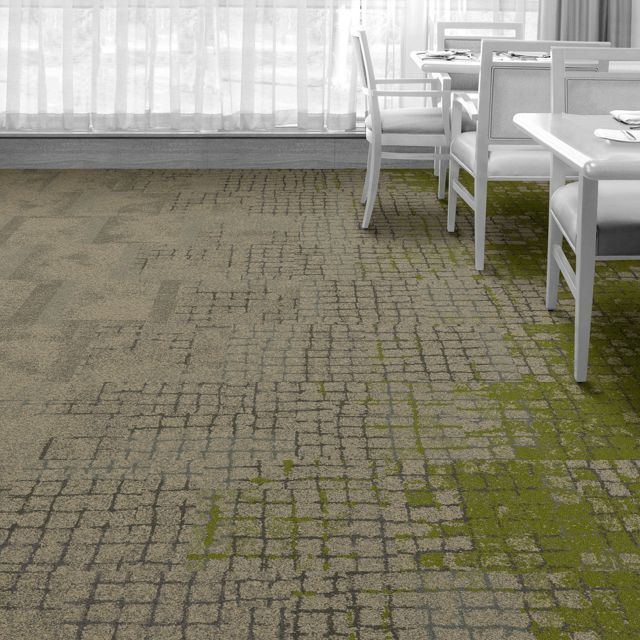 Interface Floor Design    | Kerbstone: Granite, Sett In Stone: Granite, Moss In Stone: Granite Edge, Moss: Granite/Moss, Flagstone: Granite |    Find inspiration for your next interior design project with floors composed of modular carpet tiles from Interface