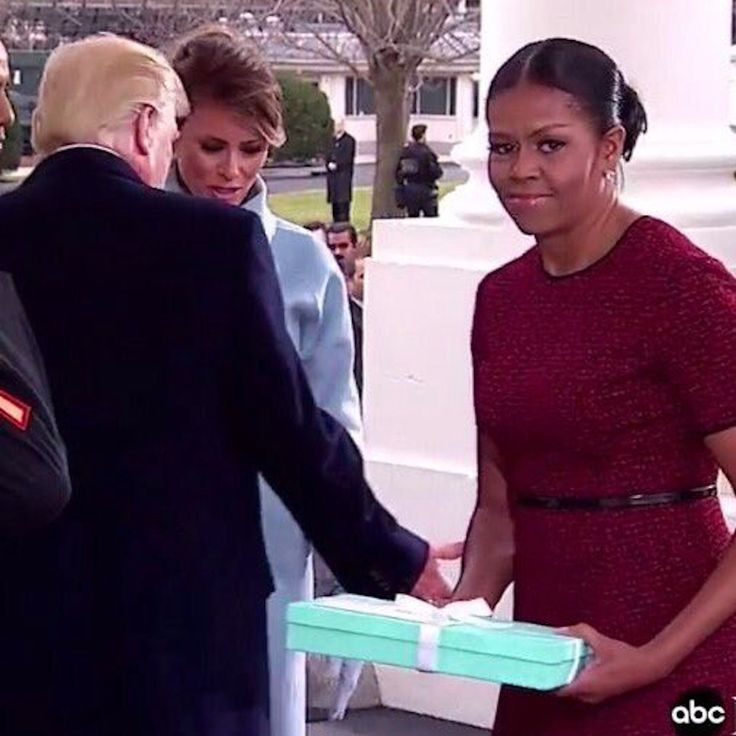 When Donald and Melania Trump arrived at the White House on Inauguration  Day, the new FLOTUS carried a large Tiffany's box that carried her parting  gift for