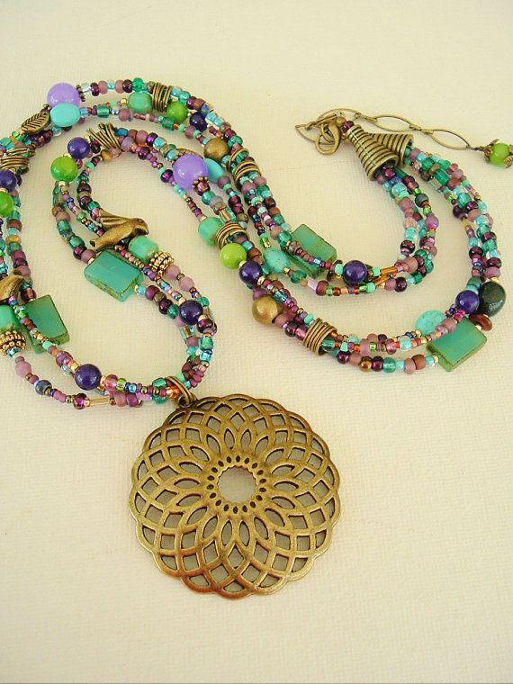 Boho Southwest Necklace, Bohemian Style, Turquoise Jewelry, Art Jewelry via Etsy