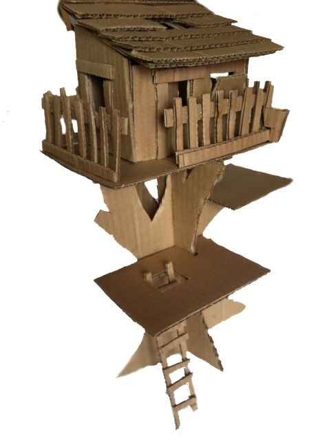 Cardboard tree house (for barbie).