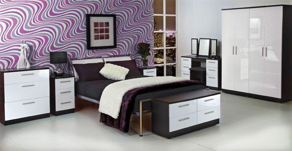 Amazing Black Gloss Bedroom Furniture Marble Floor White Wooden Wardrobe