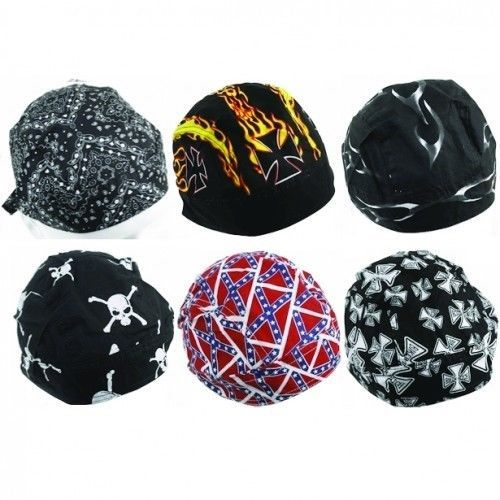 Cotton Skull Caps,Assorted-Doo Rags-Bandanas-Hats-Motorcycle Bikers-FreeShipping #Unbranded #Bandana