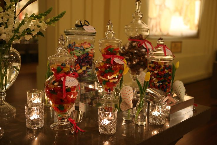 Lollie jars and scoops with floral for sophistication
