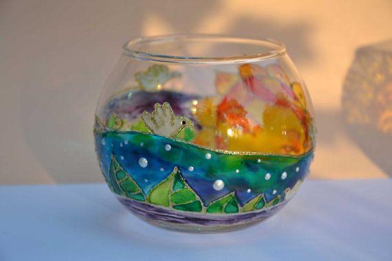 Mano pintada candelabros de cristal vidrieras. ПОДСВЕЧНИК